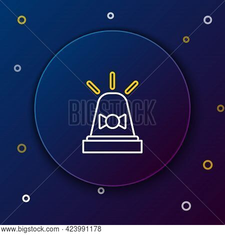 Line Flasher Siren Icon Isolated On Blue Background. Emergency Flashing Siren. Colorful Outline Conc