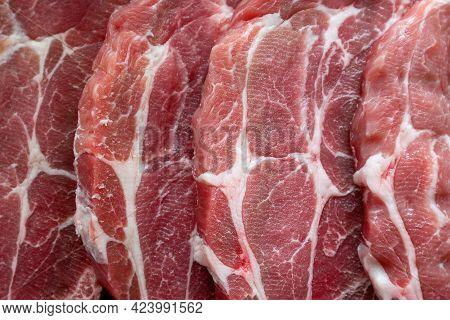 Fresh Pork Steaks Close Up, Food Background
