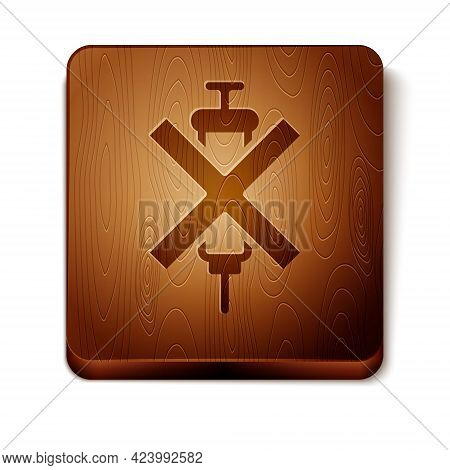 Brown No Doping Syringe Icon Isolated On White Background. Wooden Square Button. Vector