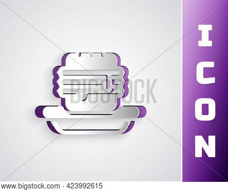 Paper Cut Junk Food Icon Isolated On Grey Background. Prohibited Hot Dog. No Fast Food Sign. Paper A