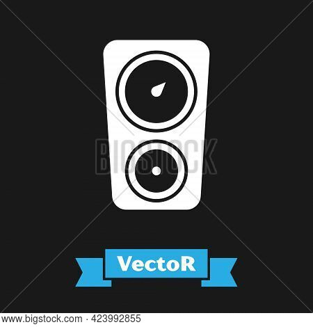White Gauge Scale Icon Isolated On Black Background. Satisfaction, Temperature, Manometer, Risk, Rat