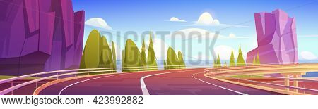 Car Overpass Road On Sea Shore With Mountains And Green Trees. Vector Cartoon Landscape Of Ocean Sho