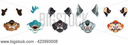 Animal Face Masks For Social Networks, Selfie Photo Or Video Chat Filter. Roar Scary Tiger, Snake, R