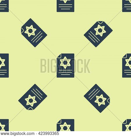 Blue Torah Scroll Icon Isolated Seamless Pattern On Yellow Background. Jewish Torah In Expanded Form