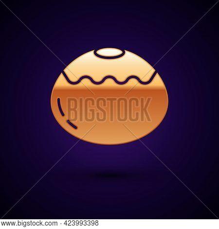 Gold Jewish Sweet Bakery Icon Isolated On Black Background. Hanukkah Sufganiyot. Jewish Easter Cake.