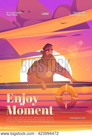 Enjoy Moment Poster With Man In Boat On Sunset Background. Vector Flyer Of Tranquility Rest At Natur