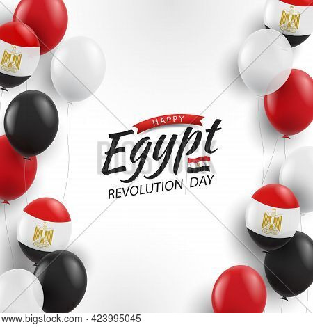 Vector Illustration Of Revolution Day Egypt. Background With Balloons
