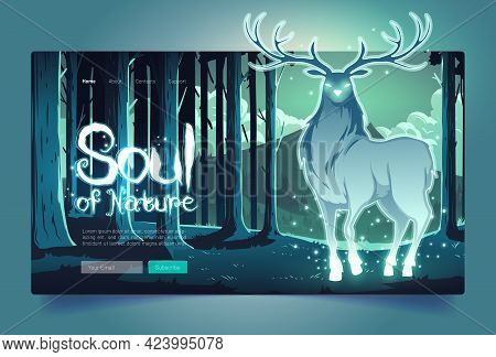 Nature Soul Banner With Mystical Glowing Deer Silhouette In Dark Forest At Night. Vector Landing Pag