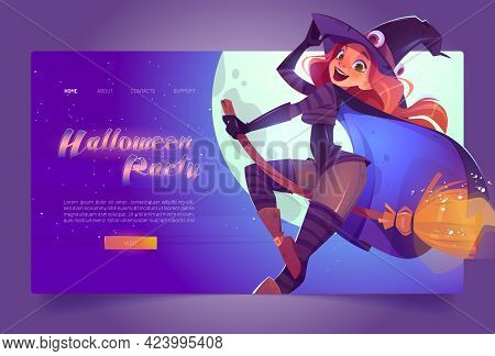 Halloween Party Banner With Beautiful Witch In Spooky Hat Flying On Broom In Night Sky. Vector Landi