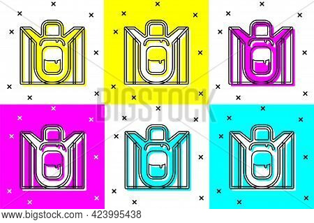 Set Hiking Backpack Icon Isolated On Color Background. Camping And Mountain Exploring Backpack. Vect