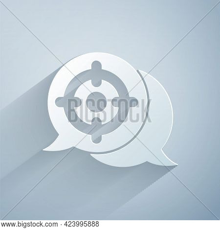 Paper Cut Target Sport Icon Isolated On Grey Background. Clean Target With Numbers For Shooting Rang