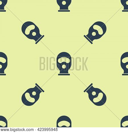 Blue Balaclava Icon Isolated Seamless Pattern On Yellow Background. A Piece Of Clothing For Winter S