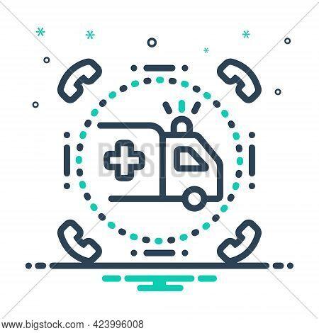 Mix Icon For Emergencies Exigency Necessity Rescue Transportation Ambulance Paramedic