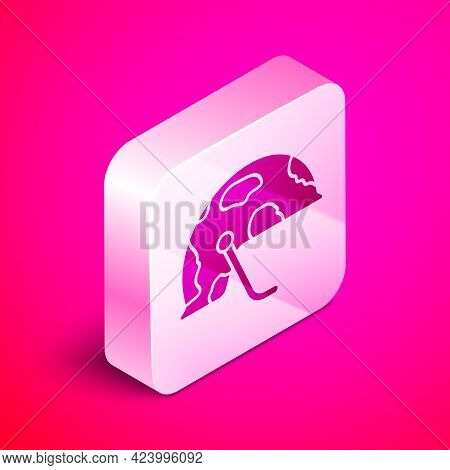 Isometric Military Helmet Icon Isolated On Pink Background. Army Hat Symbol Of Defense And Protect.