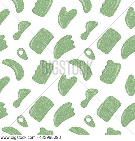 Seamless Pattern With Gua Sha Jade Scraping Massage Tool. Natural Green Stone Scraper In Different S
