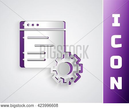 Paper Cut Computer Api Interface Icon Isolated On Grey Background. Application Programming Interface