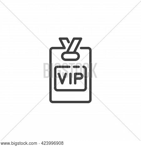 Vip Member Badge Line Icon. Linear Style Sign For Mobile Concept And Web Design. Vip Person Card Out