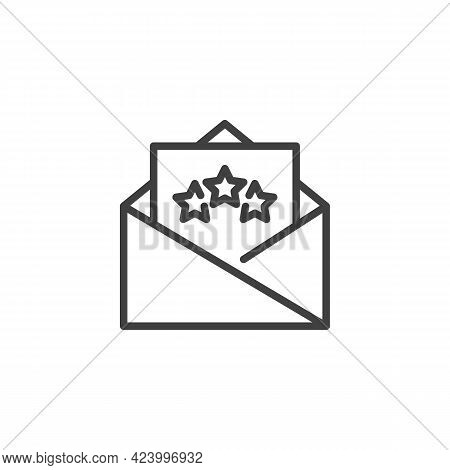 Vip Invitation Card Line Icon. Linear Style Sign For Mobile Concept And Web Design. Envelope Letter