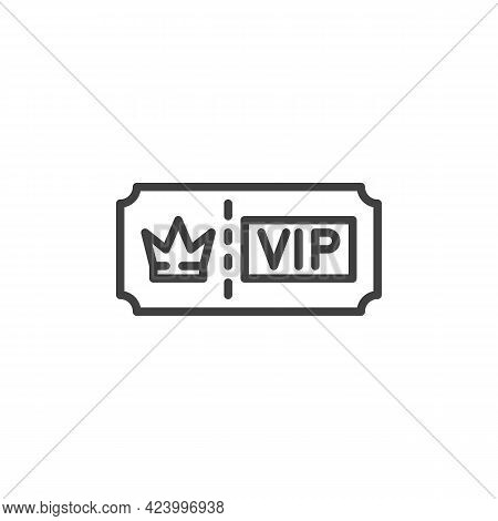 Vip Ticket Line Icon. Linear Style Sign For Mobile Concept And Web Design. Vip Member Pass Outline V