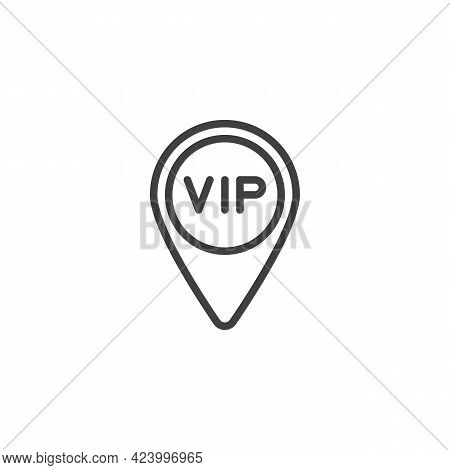 Vip Map Pointer Line Icon. Linear Style Sign For Mobile Concept And Web Design. Vip Place Location O