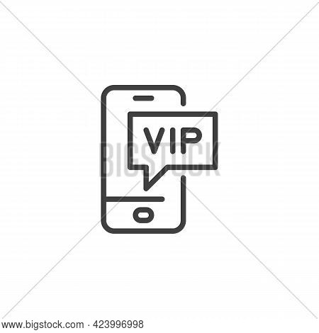 Vip Phone Message Line Icon. Linear Style Sign For Mobile Concept And Web Design. Smartphone Vip Cal