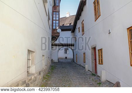 Cesky Krumlov, Czech - April 25, 2012: This Is One Of The Lanes Of The Old Medieval Town.