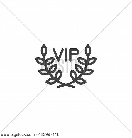 Vip, Premium Line Icon. Linear Style Sign For Mobile Concept And Web Design. Vip Laurel Wreath Outli