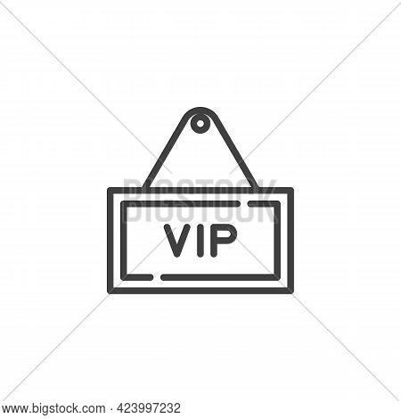 Vip Zone Sign Line Icon. Linear Style Sign For Mobile Concept And Web Design. Vip Signboard Outline