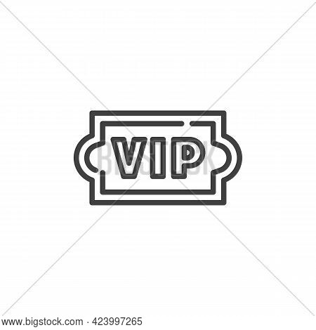 Vip Ticket Line Icon. Linear Style Sign For Mobile Concept And Web Design. Vip Premium Outline Vecto