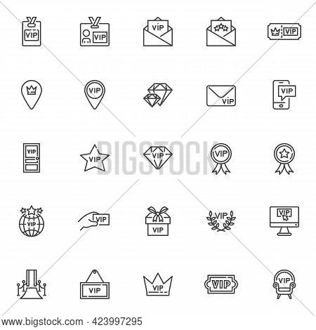 Vip, Premium Line Icons Set. Linear Style Symbols Collection, Outline Signs Pack. Vip Membership Vec