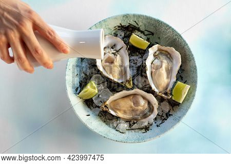 Close Up Top View Of Hand Pouring Vinegar Dressing On Fresh Oysters On Crushed Ice.