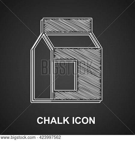 Chalk Paper Package For Milk Icon Isolated On Black Background. Milk Packet Sign. Vector