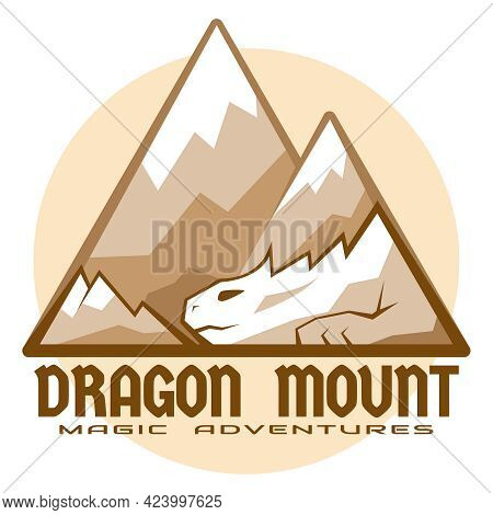 Dragon Mount Logo. Emblem For Adventures, Cosplay And Game Design. Vector