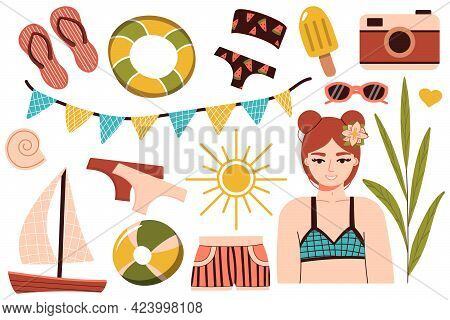A Set Of Summer Things For The Beach. Travel To A Sunny Country. Happy Girl In A Bikini Is Resting A