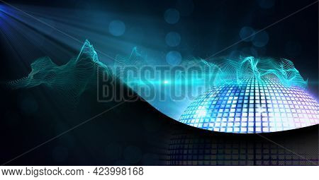 Digitally generated image of digital waves and disco ball against black technology background. technology background with texture and design