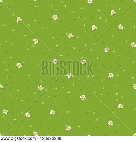 Lawn Grass,daisy Seamless Background,vector Cartoon Nature Green Exture,cute White Flower,meadow In