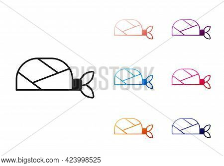 Black Pirate Bandana For Head Icon Isolated On White Background. Set Icons Colorful. Vector