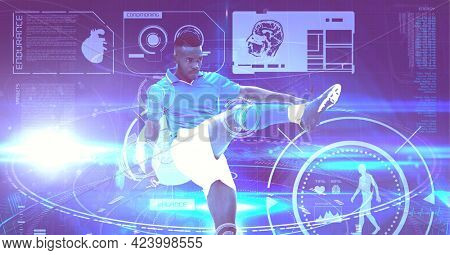 Digital interface with medical data processing against male soccer player kicking the ball. computer interface and medical science research technology concept