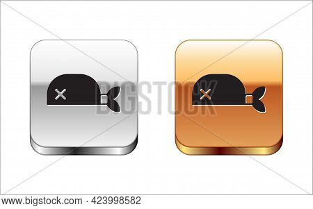 Black Pirate Bandana For Head Icon Isolated On White Background. Silver And Gold Square Buttons. Vec