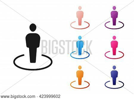 Black Map Marker With A Silhouette Of A Person Icon Isolated On White Background. Gps Location Symbo
