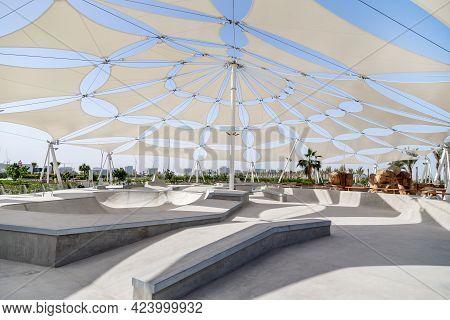 March 26, 2021 - Abu Dhabi, Uae: Empty Skating Park In Yas Island, Abu Dhabi, Uae