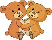 Vector illustration of cute bear embrace each other poster