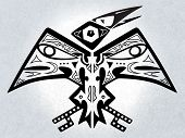 Digital illustration of a symmetrical native american folk-art stylized mythical bird creature poster
