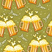 beer seamless pattern.Vector glasses of beer background for design poster