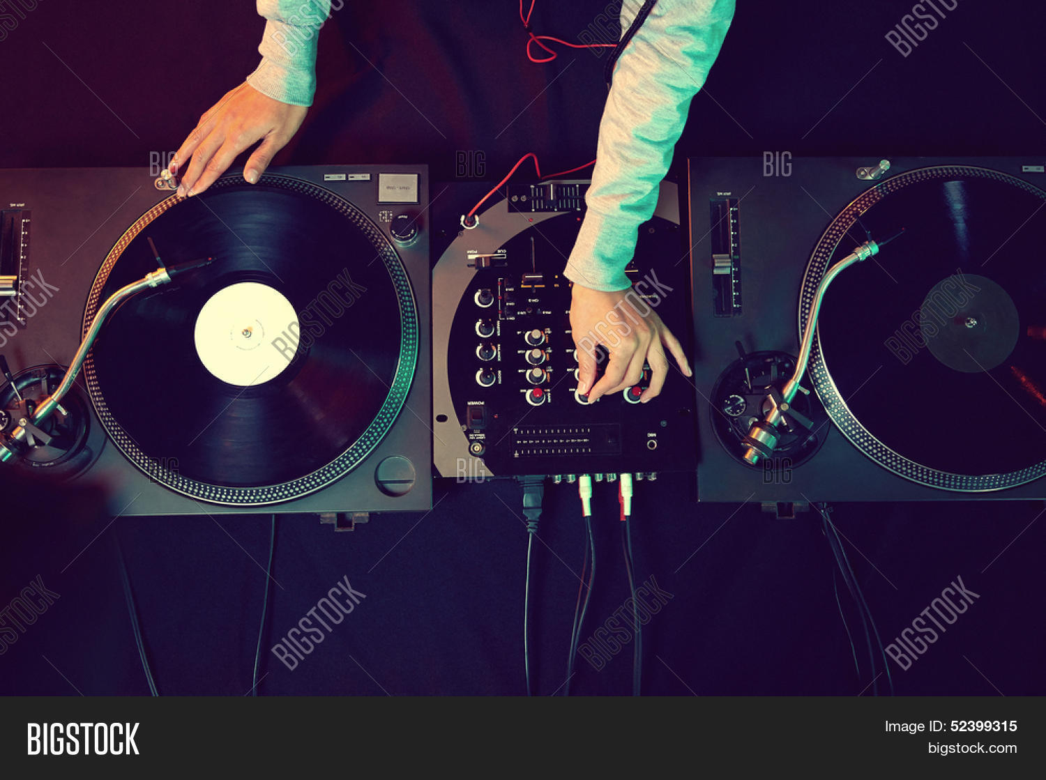 dj hands on equipment image photo free trial bigstock