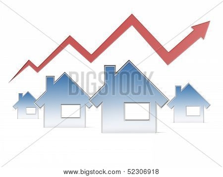 Red graph and houses