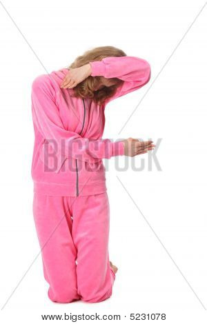 Girl In Pink Clothes Represents  Letter F