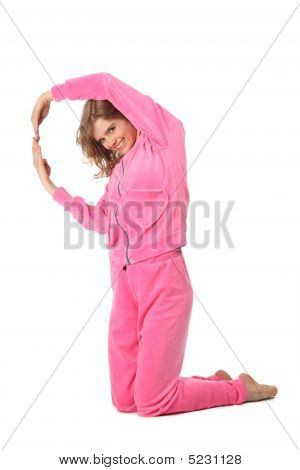 Girl In Pink Clothes Represents  Letter Q