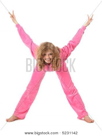 Girl In Pink Clothes Represents  Letter X