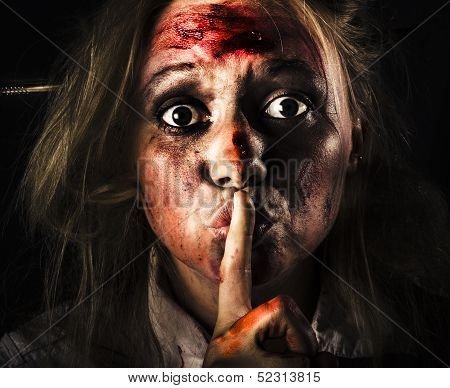 Scary Zombie Horror Face Gesturing Silence